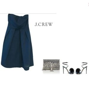 Dark blue strapless cotton dress from J. Crew